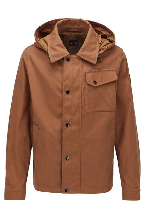 Wasserabweisende Jacke mit abnehmbarer Kapuze, Dunkelbraun