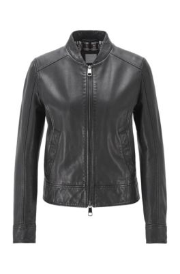 Regular-fit leather jacket with logo-print lining, Black