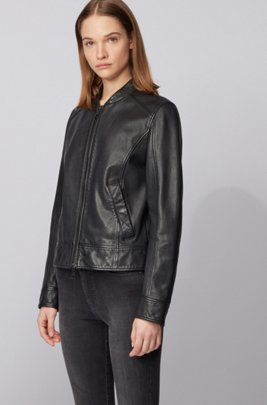 Regular-fit leather jacket with logo-print lining, ブラック