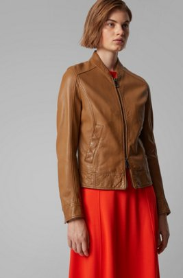 Regular-fit leather jacket with logo-print lining, Beige