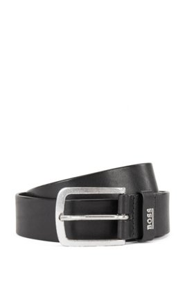 Italian-leather belt with logo keeper, Black