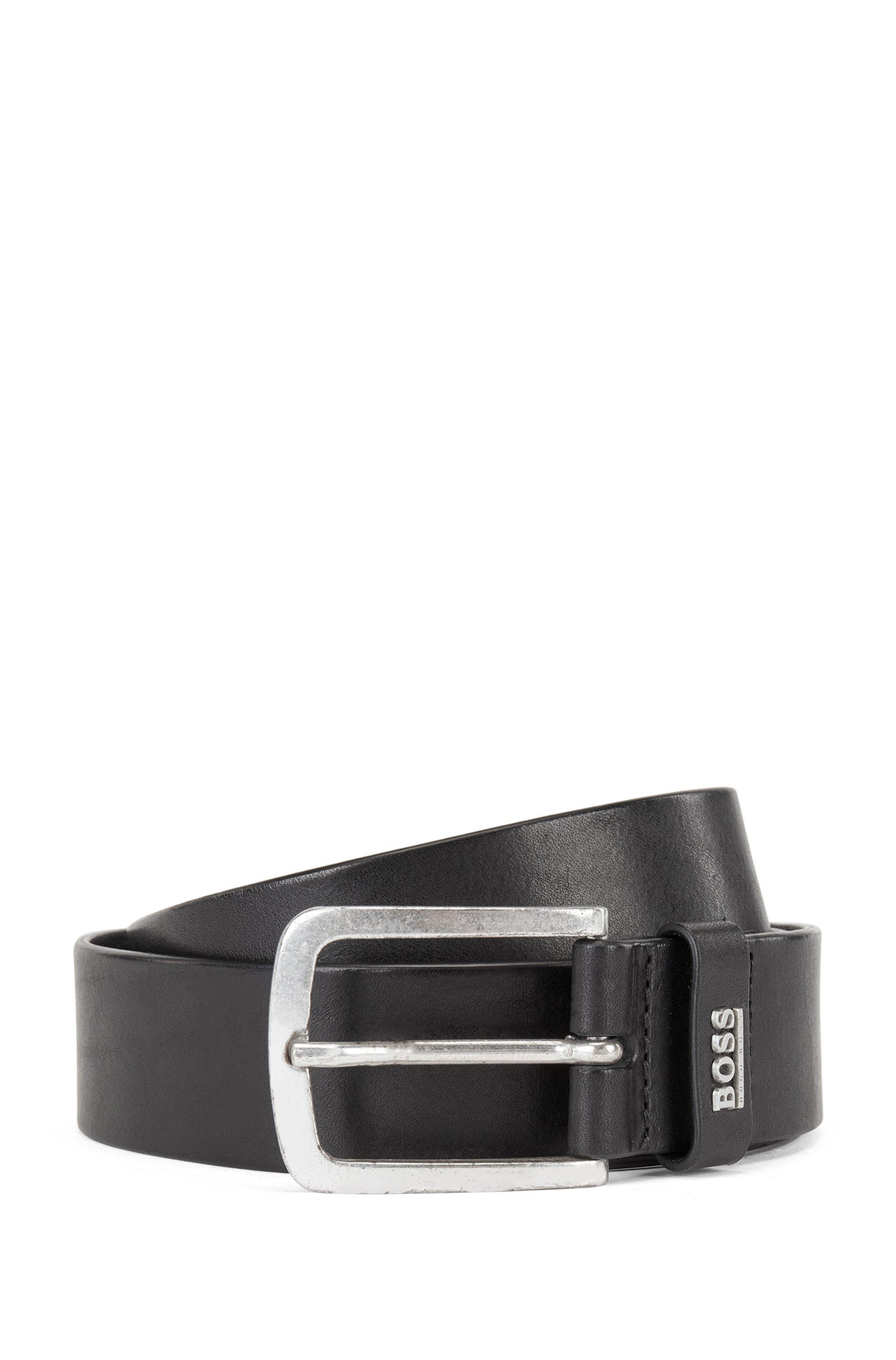 Italian-leather belt with logo keeper, Black