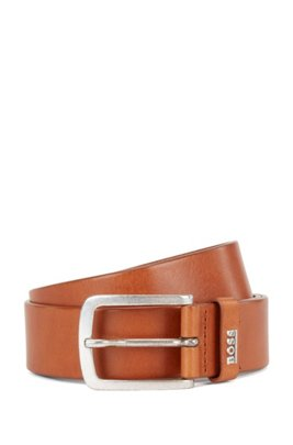 Italian-leather belt with logo keeper, Brown