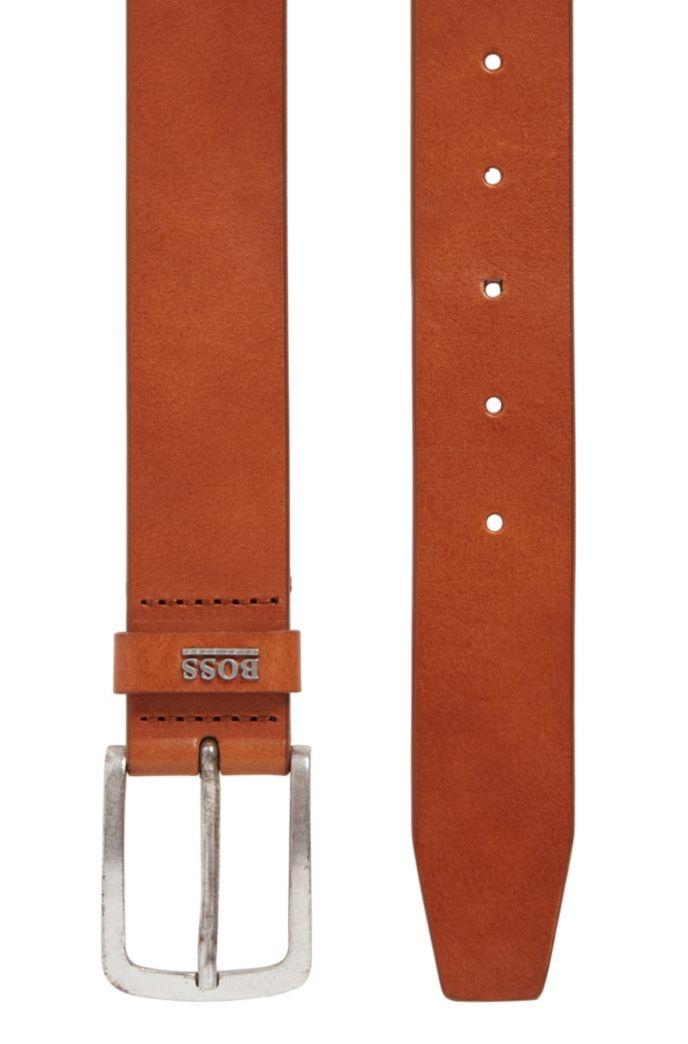 Italian-leather belt with logo keeper