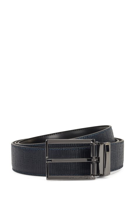 Reversible belt in plain and structured leather with dual buckles, Black