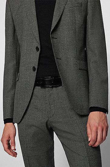 双扣素色结构皮革双面腰带,  004_Black