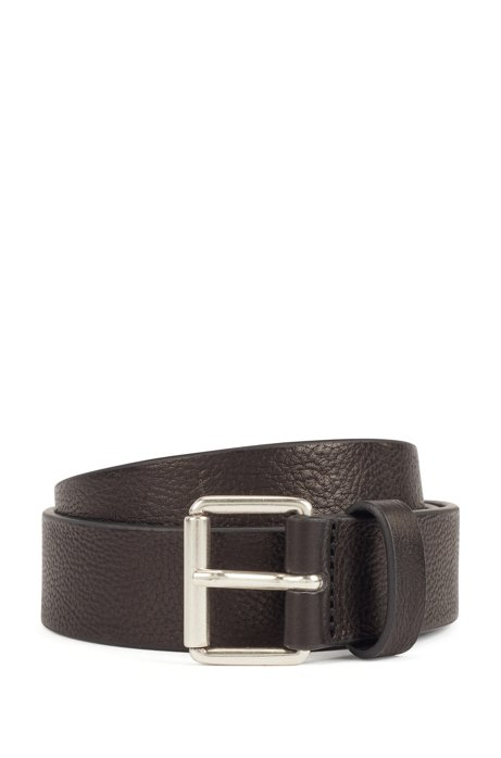Grained-leather belt with brushed-silver buckle, Black