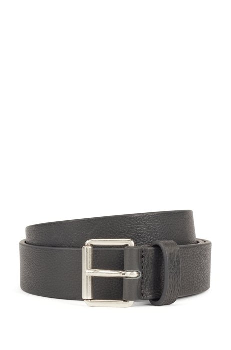 Grained-leather belt with brushed-silver buckle, Dark Green