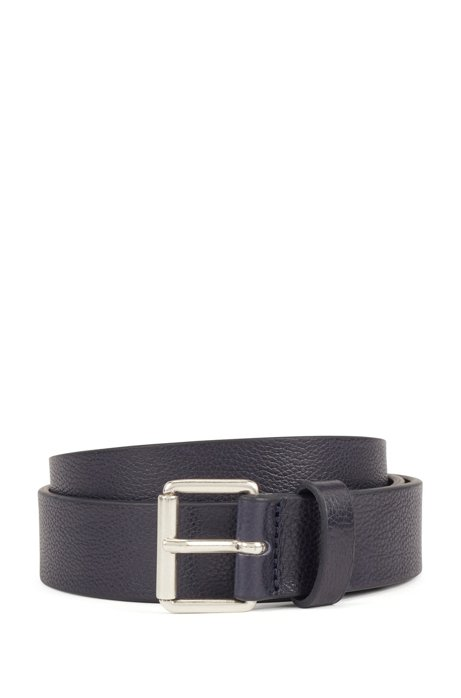 Grained-leather belt with brushed-silver buckle, Dark Blue