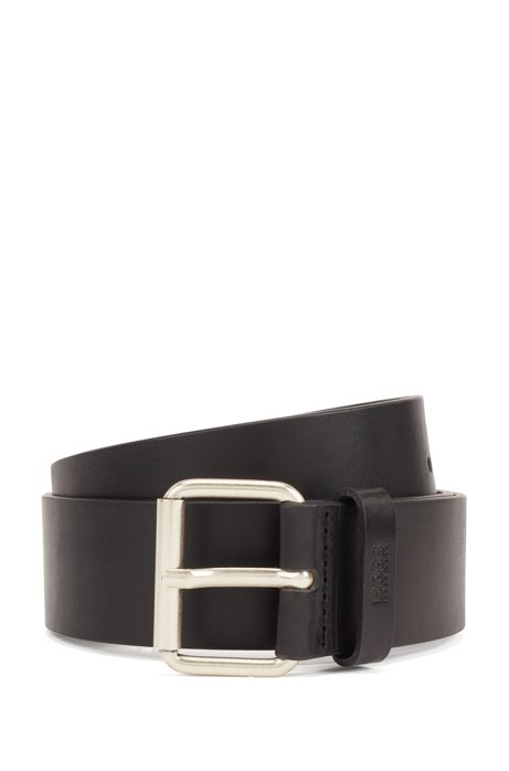 Roller-buckle belt in vegetable-tanned Italian leather, Black