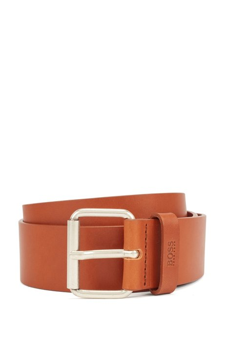 Roller-buckle belt in vegetable-tanned Italian leather, Brown