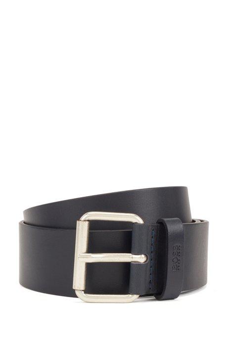Roller-buckle belt in vegetable-tanned Italian leather, Dark Blue