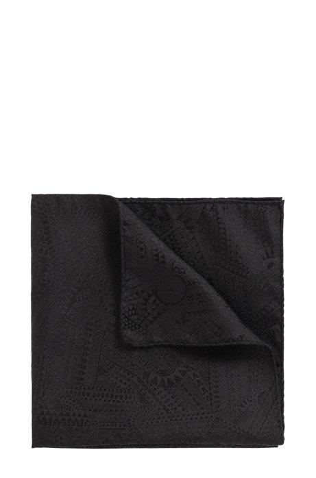 In Italien gefertigtes Einstecktuch aus Seide mit Print der Kollektion, Schwarz