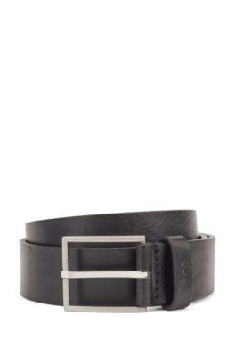 Gürtel aus italienischem Leder mit Logo-Struktur an der Spitze, Schwarz