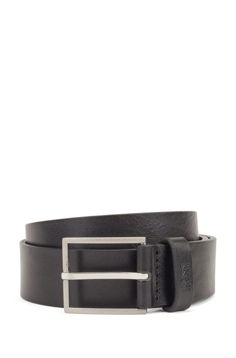 Italian-leather belt with logo-structured tip, Black