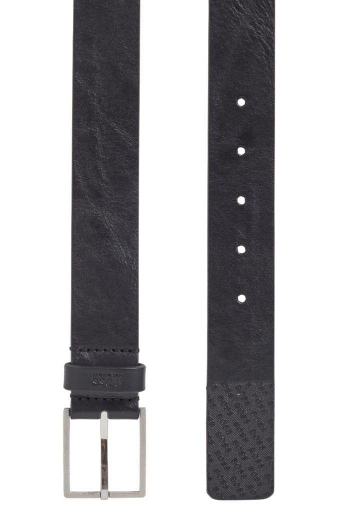 Gürtel aus italienischem Leder mit Logo-Struktur an der Spitze