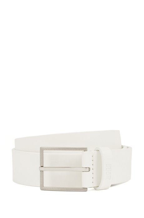 Italian-leather belt with logo-structured tip, White