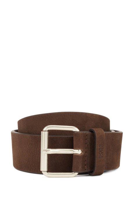 Roller-buckle belt in Italian nubuck leather, Dark Brown