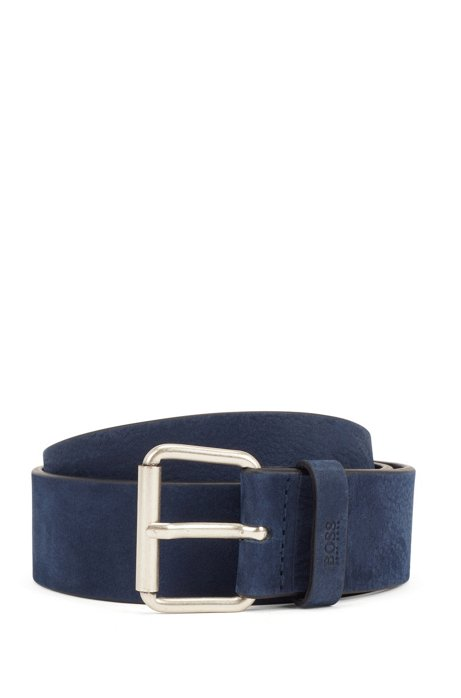 Roller-buckle belt in Italian nubuck leather, Dark Blue