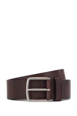 Cinturón con hebilla de aguja en piel italiana de curtido vegetal, Marrón oscuro
