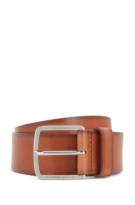 Pin-buckle belt in vegetable-tanned Italian leather, Brown
