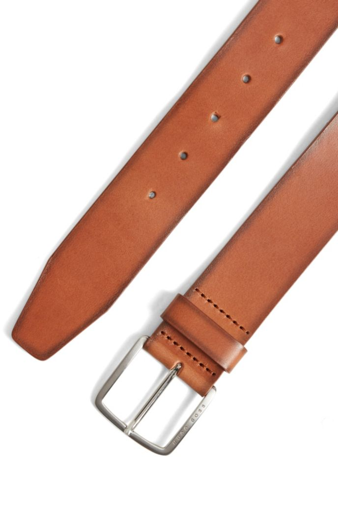 Pin-buckle belt in vegetable-tanned Italian leather