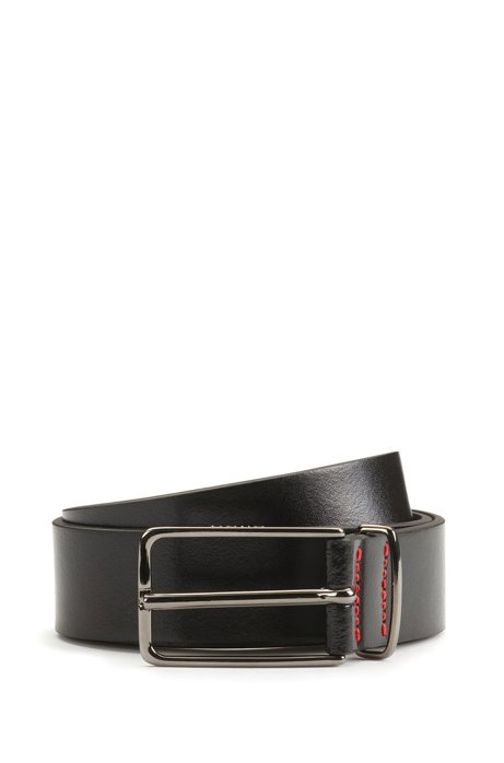Leather belt with silver-tone buckle, Black