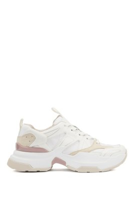 Unisex trainers in ripstop fabric with chunky sole, White