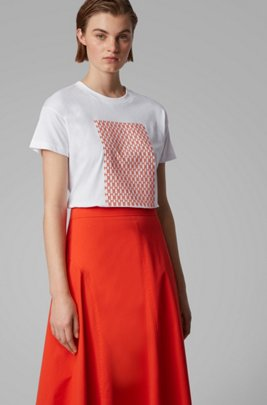 Relaxed-fit T-shirt in cotton with monogram pattern, Patterned