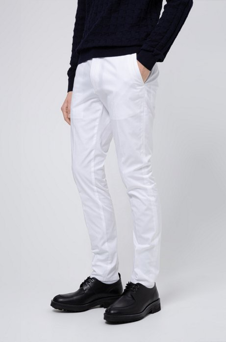 Extra-slim-fit trousers in stretch-cotton twill, White