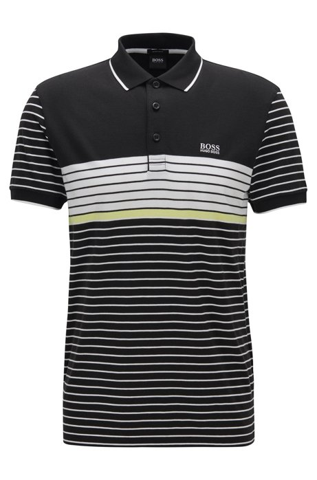 Polo regular fit con estampado de malla, Negro