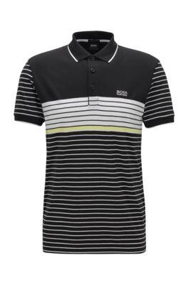 Poloshirt aus Baumwolle mit Mesh-Muster, Schwarz