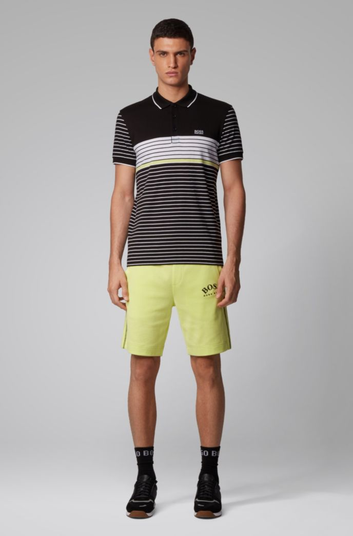 Regular-fit polo met mesh-dessin