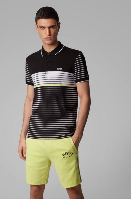 Polo regular fit con motivo a rete, Nero