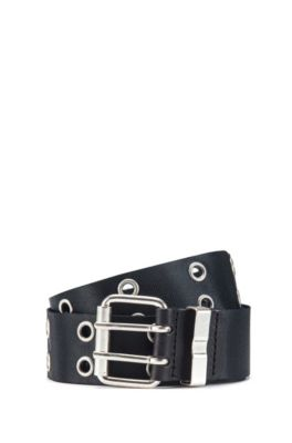 Webbing belt with double-pin buckle, Black