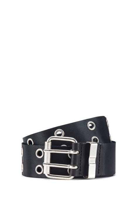 Webbing belt with double-pin buckle, Black