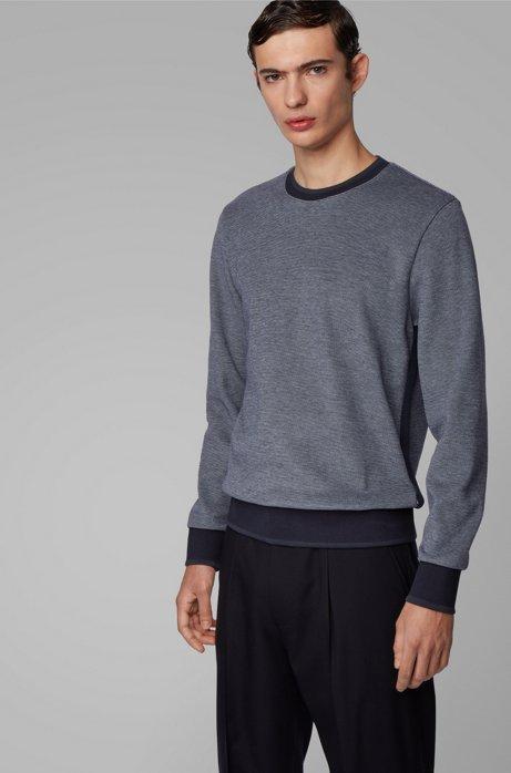 Zweifarbiger Pullover mit glänzender Paspel, Dunkelblau