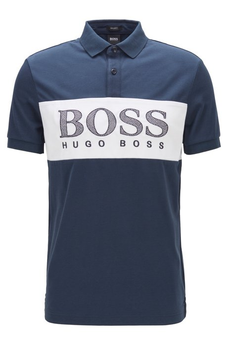 Regular-fit polo shirt with mesh-effect logo print, Dark Blue