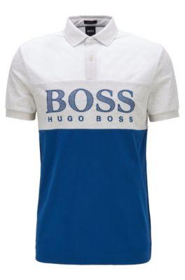 Regular-fit polo shirt with mesh-effect logo print, Blue