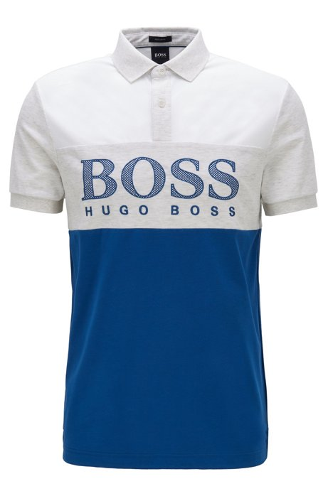 Polo regular fit con logo stampato effetto rete, Blu