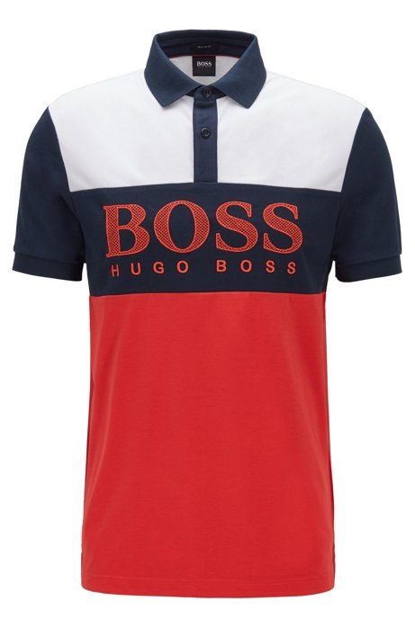 Regular-fit polo shirt with mesh-effect logo print, Red