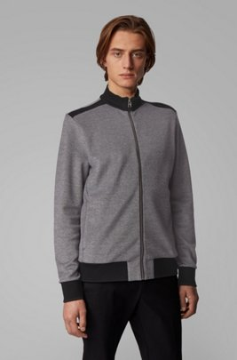 Zip-through knitted sweatshirt with lustrous tipping, Black