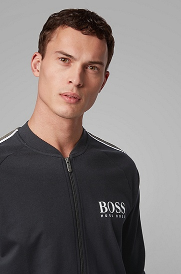 男士条纹衣袖棉质毛圈布徽标夹克,  001_黑色