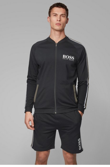 Logo loungewear jacket in cotton terry with striped sleeves, Black