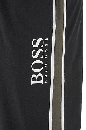 男士侧条纹棉毛圈布家居裤,  001_黑色