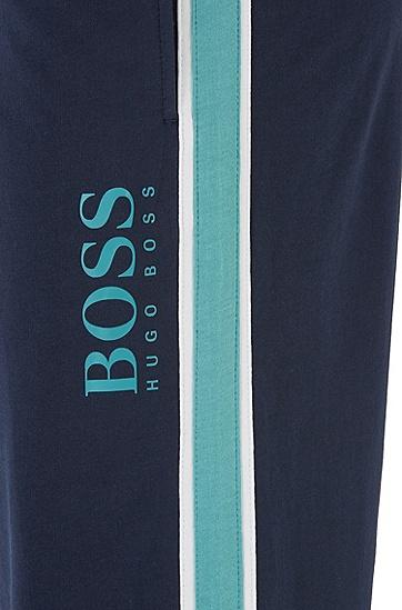 男士侧条纹棉毛圈布家居裤,  403_暗蓝色