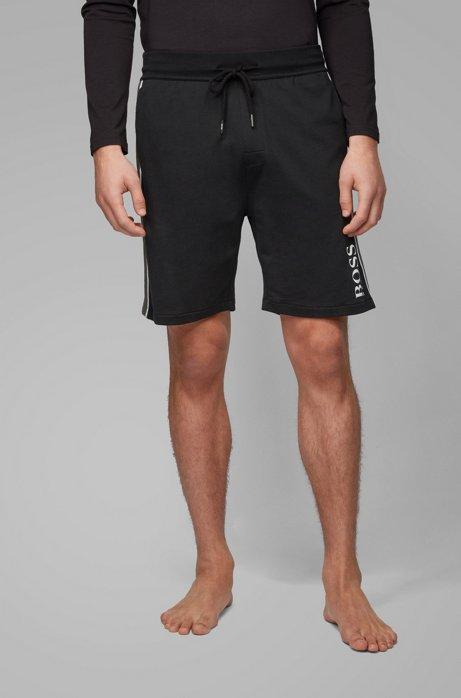 Loungewear-Shorts aus Baumwoll-Terry mit seitlichen Streifen und Logo, Schwarz