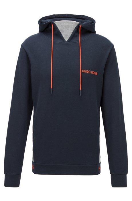 Loungewear-Sweatshirt aus Baumwoll-Jacquard mit Piqué-Struktur, Dunkelblau