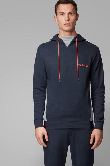 Regular-fit loungesweater van jaquardgeweven katoenpiqué, Donkerblauw