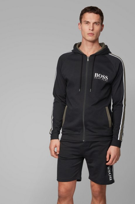 Hooded loungewear jacket in French cotton terry, Black